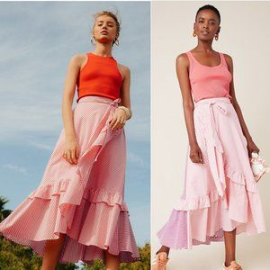 Maeve Penny Ruffled Midi Skirt